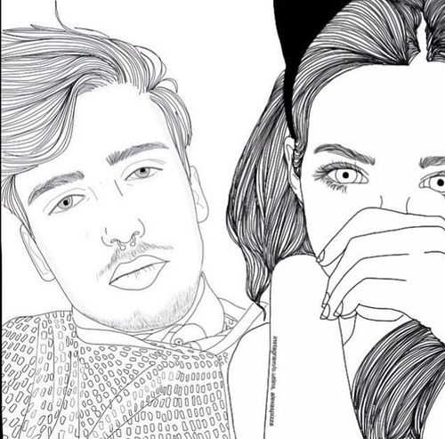 Couple Outline And Drawing Image Outline Art Tumblr Outline