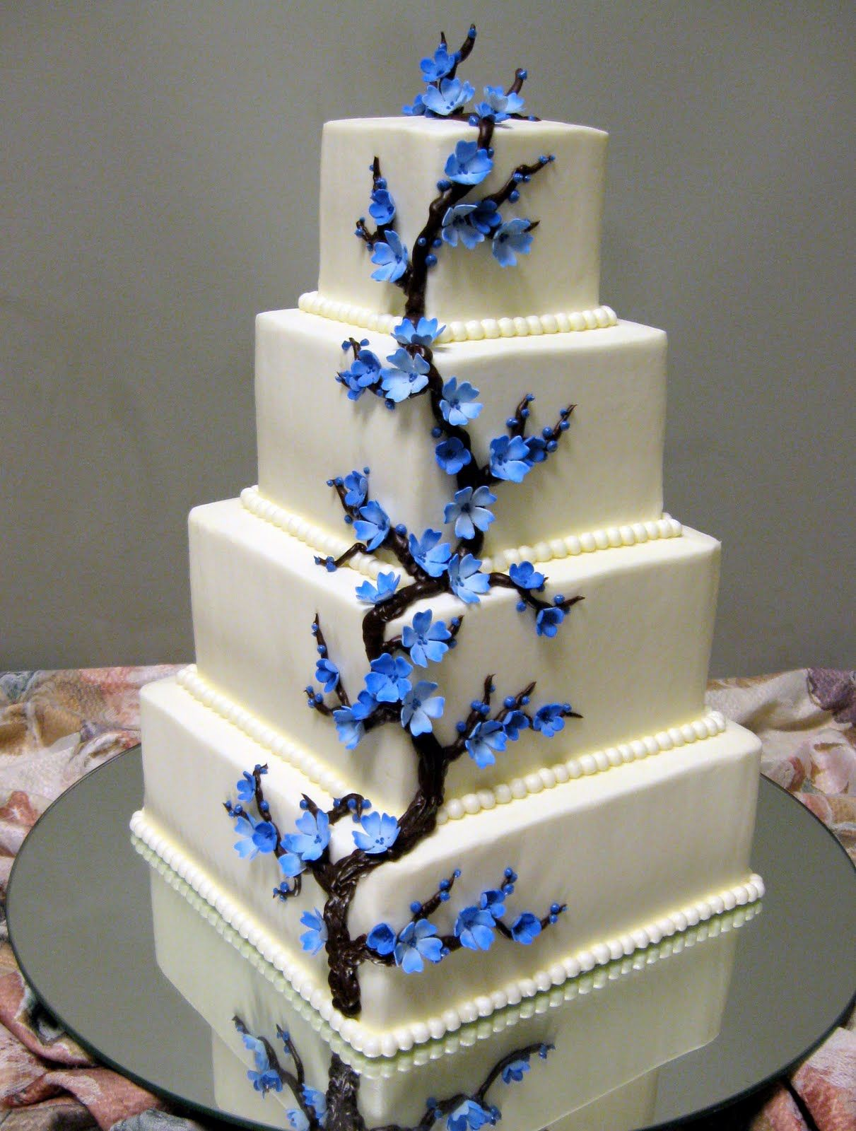 Blue Cherry Blossom Wedding Cake