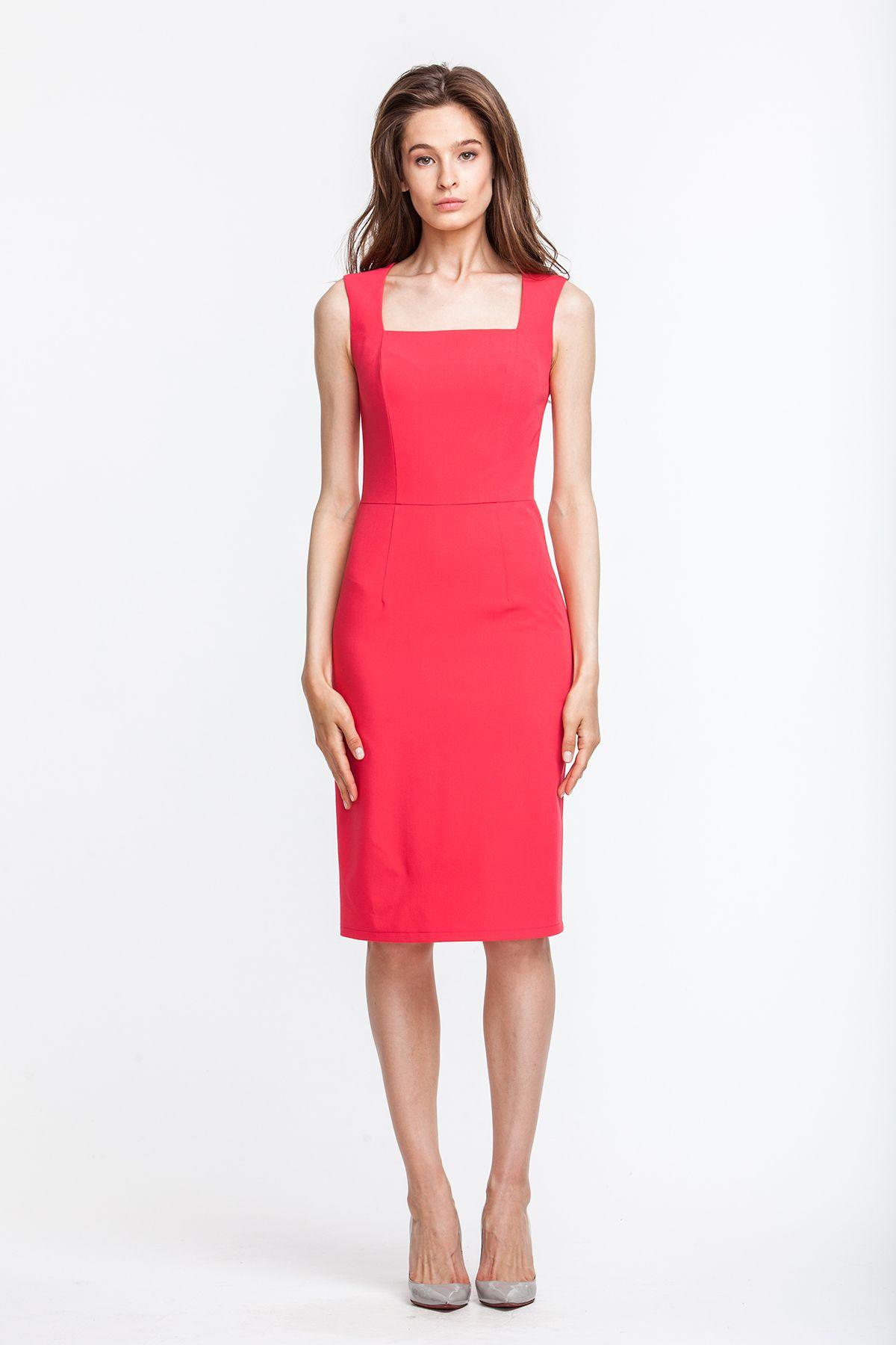 1f8abfd5964 2575 Платье-футляр розовое с квадратным вырезом