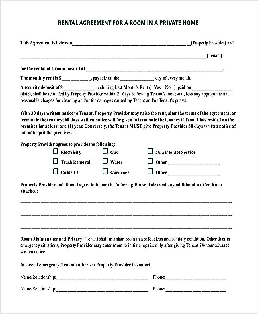 room rental agreement in private home pdf download   9  room rental agreement template