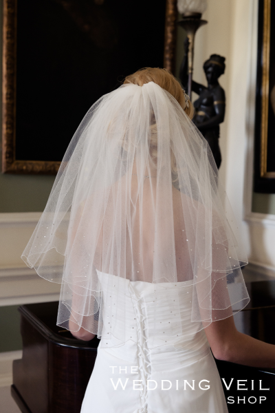 Wedding Veil RAIN Is A Two Layer Elbow Length With Pencil Scalloped