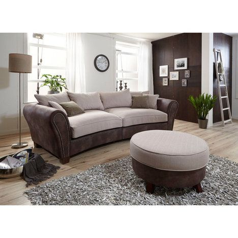 big sofa braun beige federkern inklusive kissen. Black Bedroom Furniture Sets. Home Design Ideas