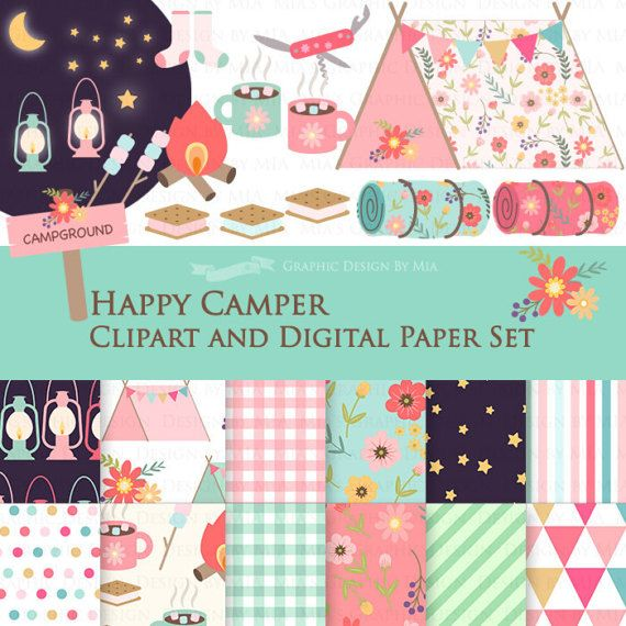 85 Happy Camper Clipart