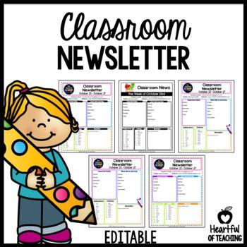 Classroom Newsletter EDITABLE Pinterest Weekly classroom