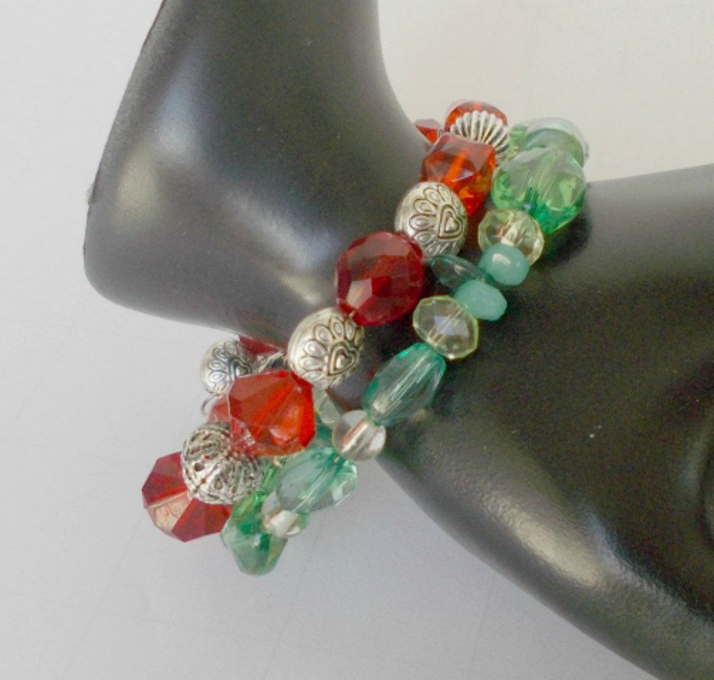 Red Green Beads Memory Wire Bracelet | Christmas Red Green Bead ...