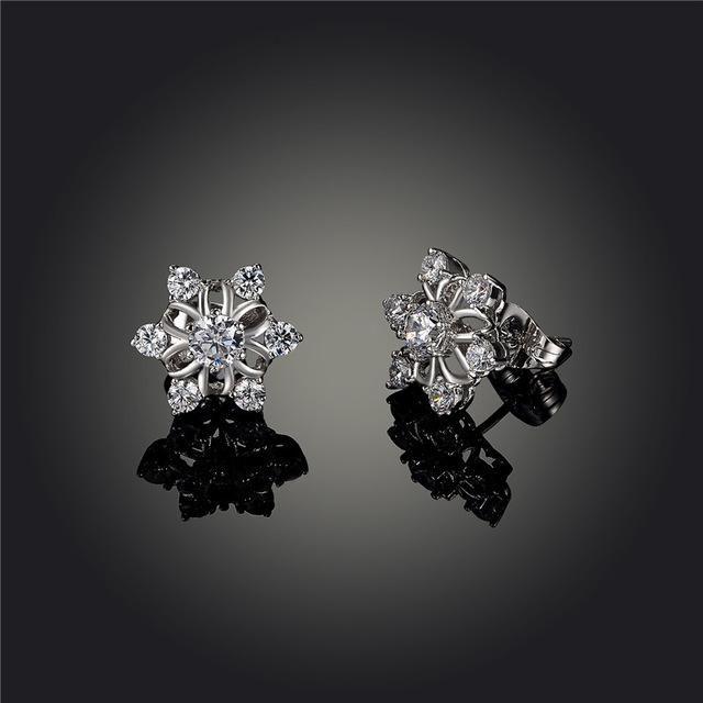AENINE Trendy Snowflake Stud Earrings White Gold Color CZ Crystal Wedding Earrings Jewelry For Women Gift L10203292587