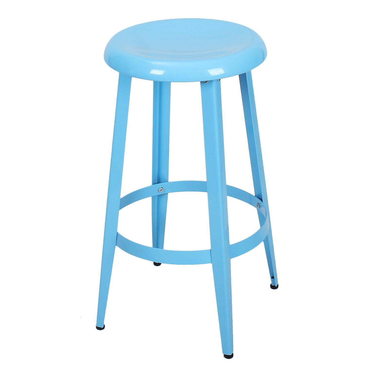 Joveco Blue Metal Stackable Round Top Backless 26 Inch Stool Wholesale Price Available In 2020 Bar Stools Metal Counter Stools Metal Bar Stools