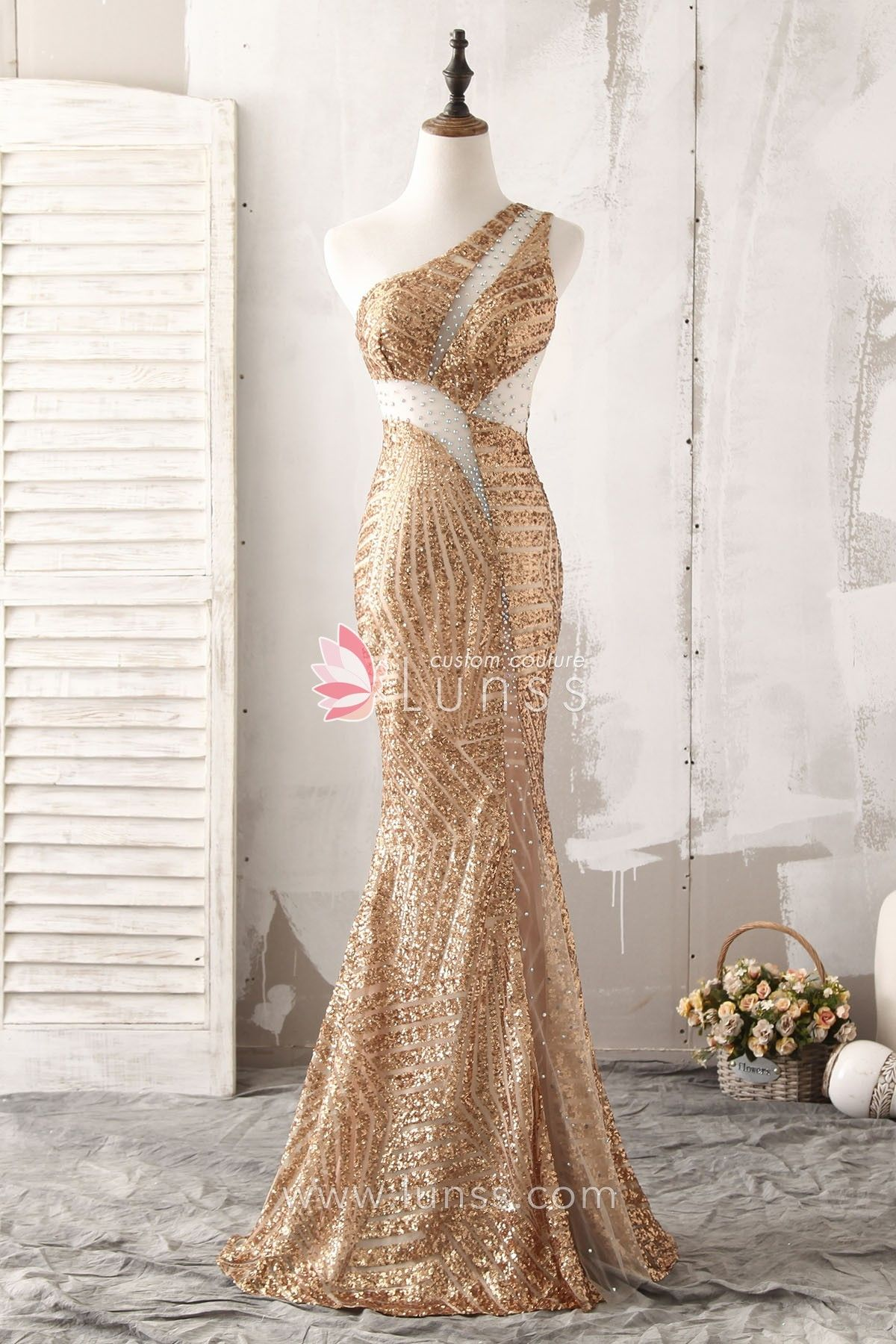 f0b8a7bc55e Sparking Gold Asymmetric One-shoulder Sequin Fit-and-flare Evening Prom  Dress - Lunss Couture
