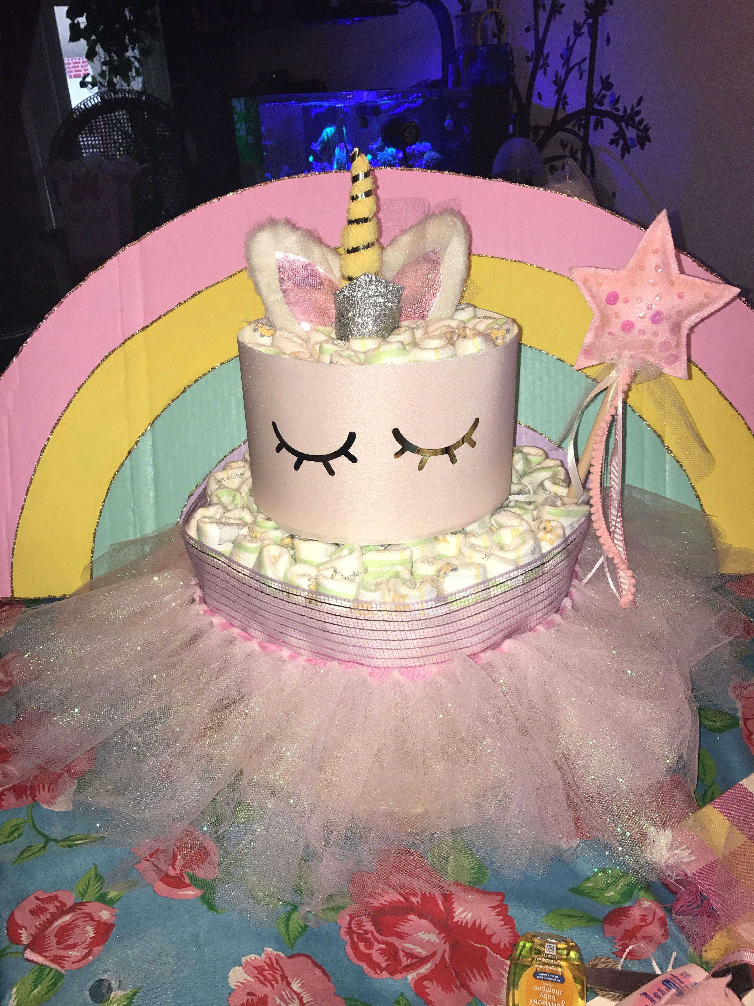 Unicorn Diaper Cake Magic Unicorn Baby Shower Theme Baby Shower Cakes Girl Baby Shower Diy