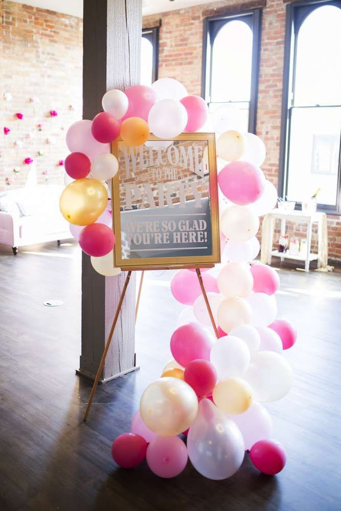 loving the party decorations at this galentines day party bridal shower the balloons are spectacular see more party ideas and share yours at
