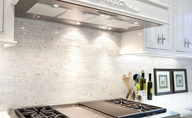 white kitchen mosaic backsplash ideas |  -white-marble