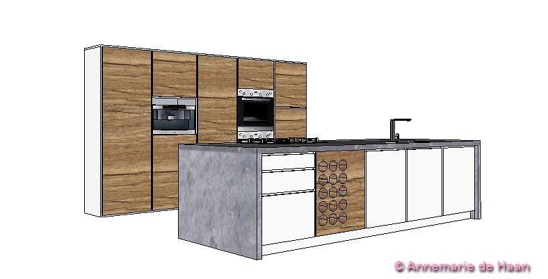 #Kitchen # kitcheisland #wood #concrete #oven #coffeemaker #cooker #microwaveoven #wineholder #sink #gloss