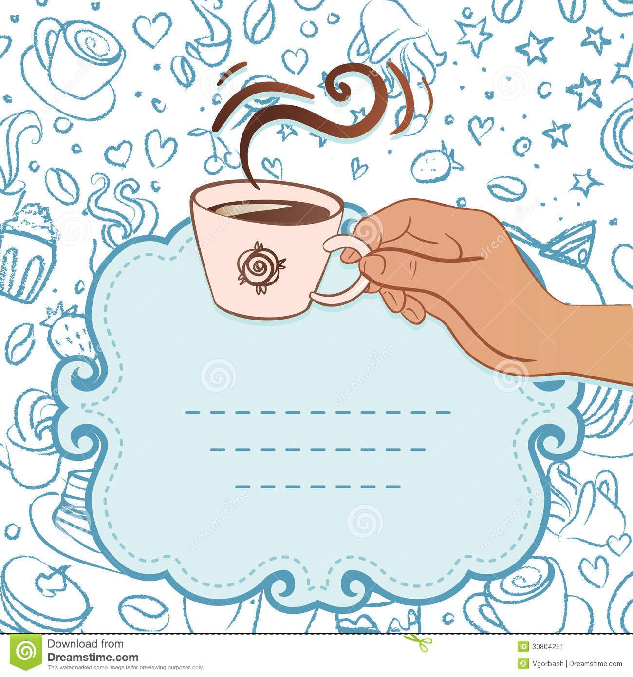 Elegant tea party invitation template with teacups cartoon vector - Free Coffee Invitation Template Tea Party Invitation Vintage Style Frame With Hand Holding Cup Of