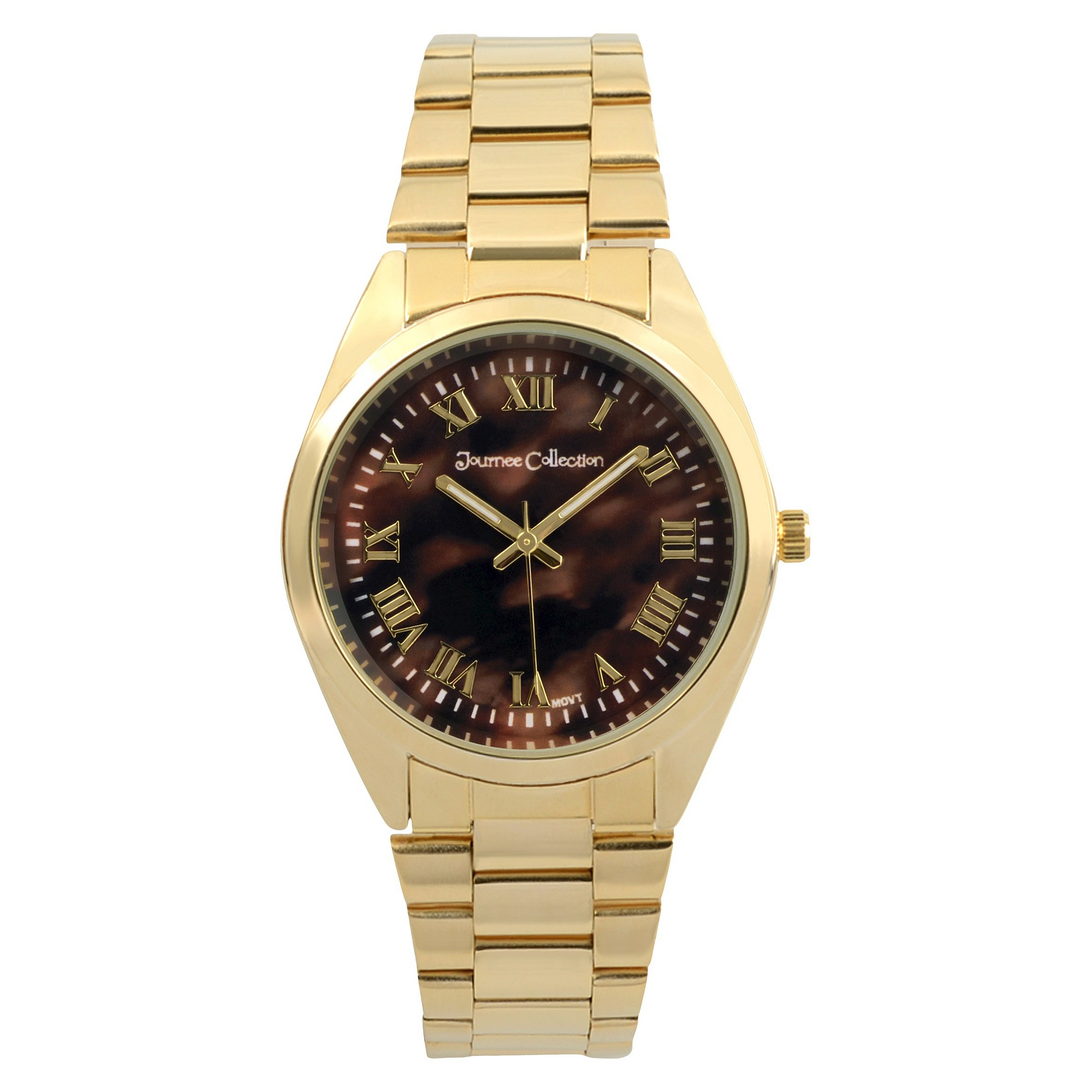 Women's Journee Collection Round Face Shell Dial Link Watch - Tortoise