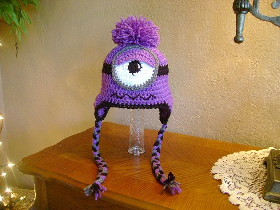 Evil Minion Crocheted Hat Momma Bear Ive Been Awfully Good