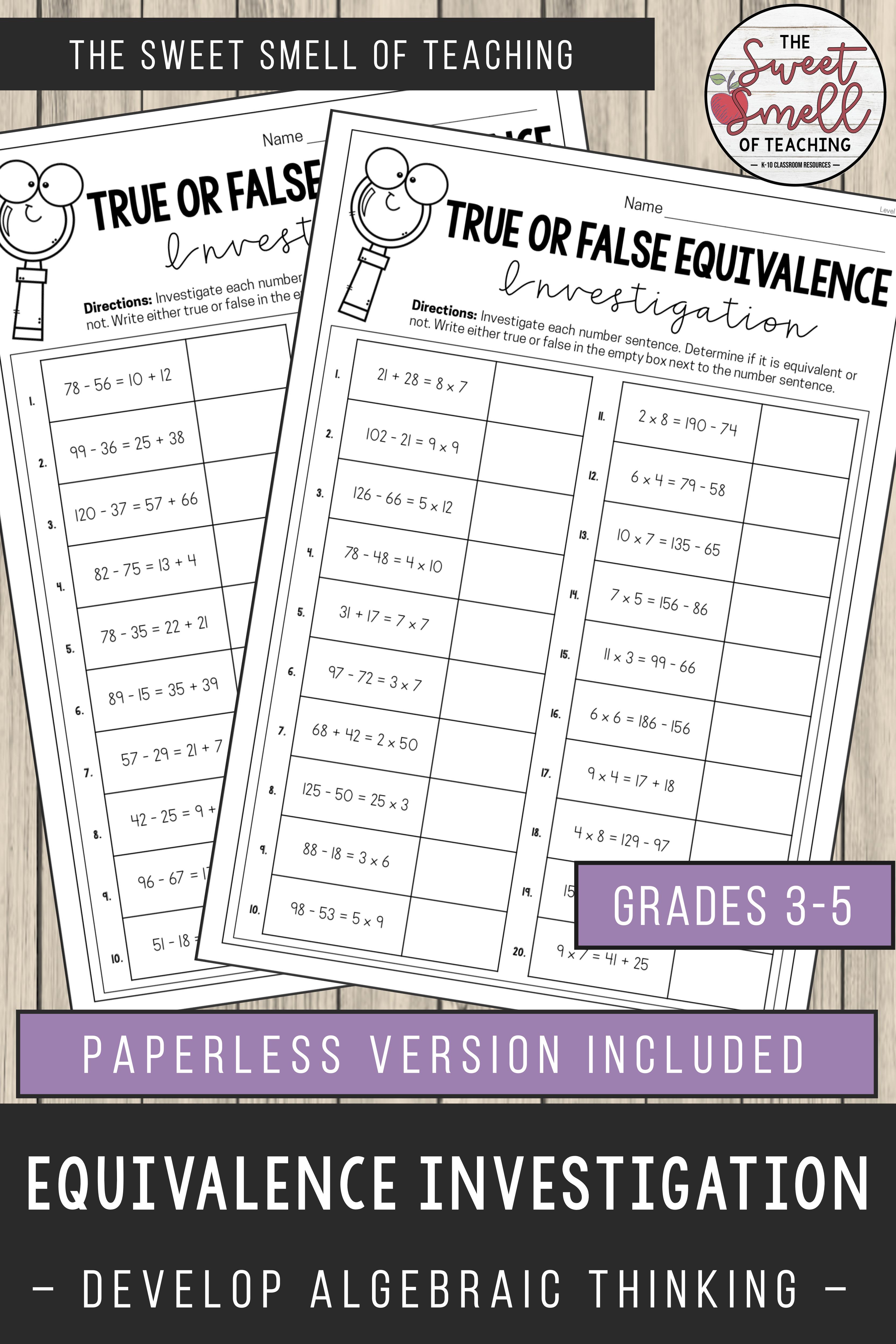 Balancing Equations Investigation Worksheets Print And