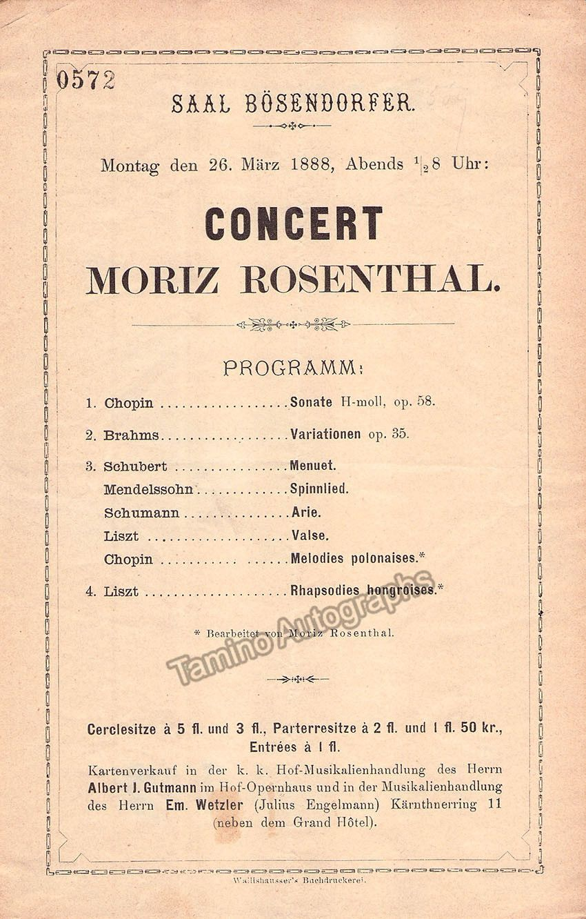 Rosenthal Moriz  Concert Program Vienna   Products