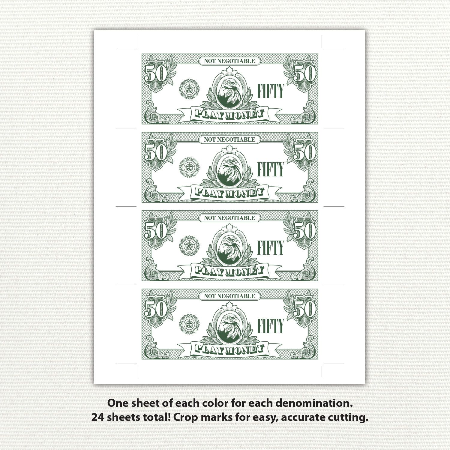 Play Money Printable Money Fake Money Pretend Money Kids