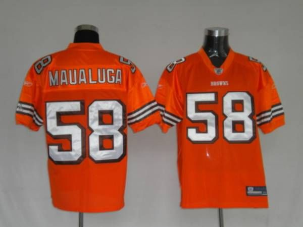100% authentic 85435 3d24b Browns #58 Rey Maualuga Orange Stitched NFL Jersey ...