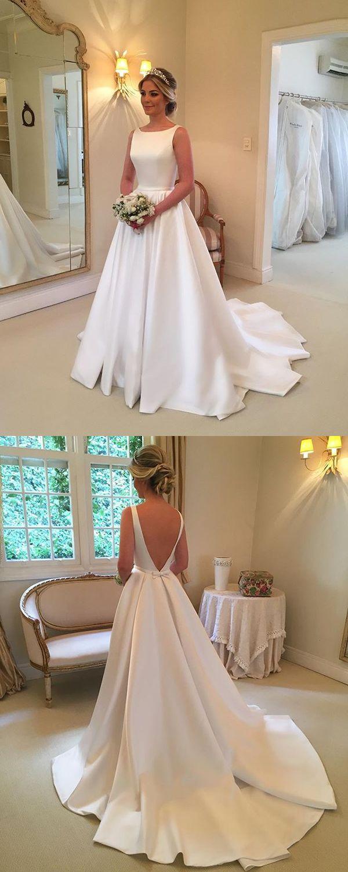 Simple wedding dresses satin scoop neckline modest bridal