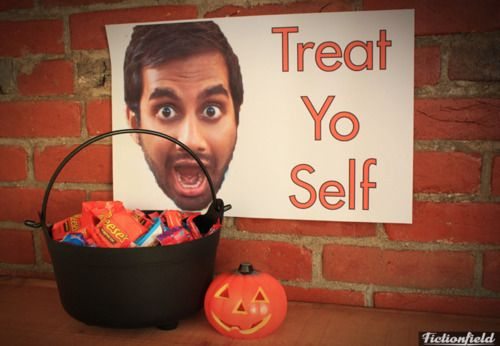 lolololzzzz Tom Haverford Halloween bucket for when i'm too lazy to be nice to children