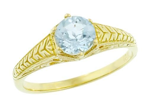 Art Deco Scrolls and Engraved Wheat Aquamarine Solitaire Filigree Engagement Ring in 18 Karat Yellow Gold #aquamarineengagementring