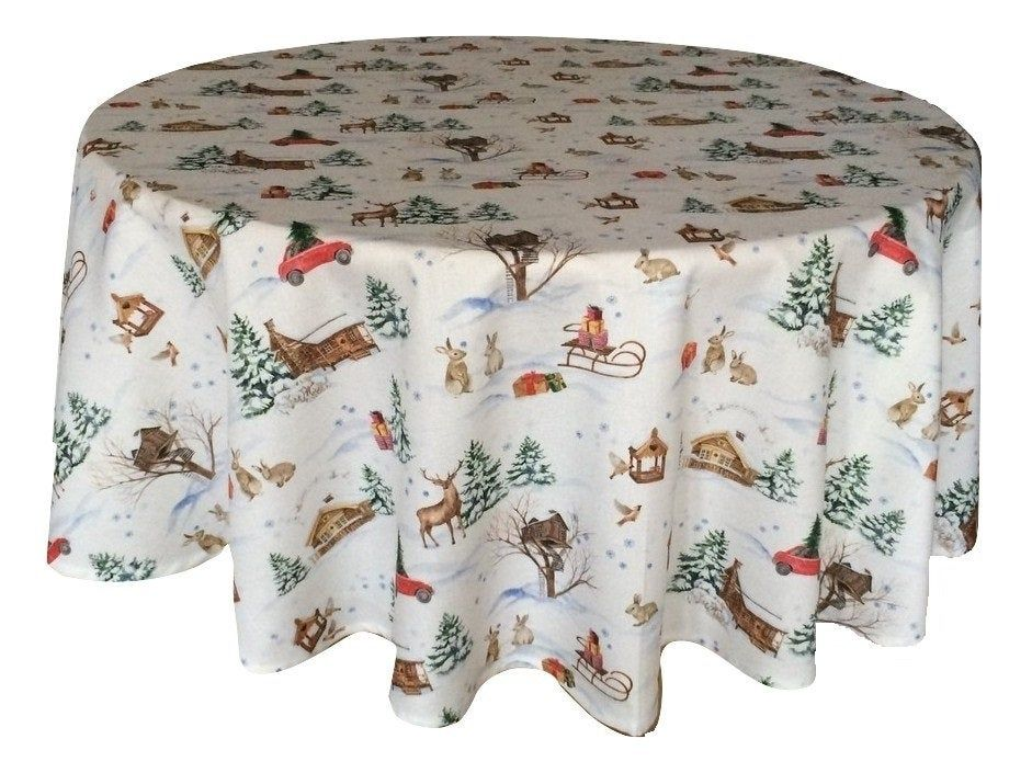 Round Tablecloth Christmas Tablecloth Table Linens Cotton Fabric Retro 145cm 57 In 2020 Christmas Table Cloth Scandinavian Fabric Round Tablecloth