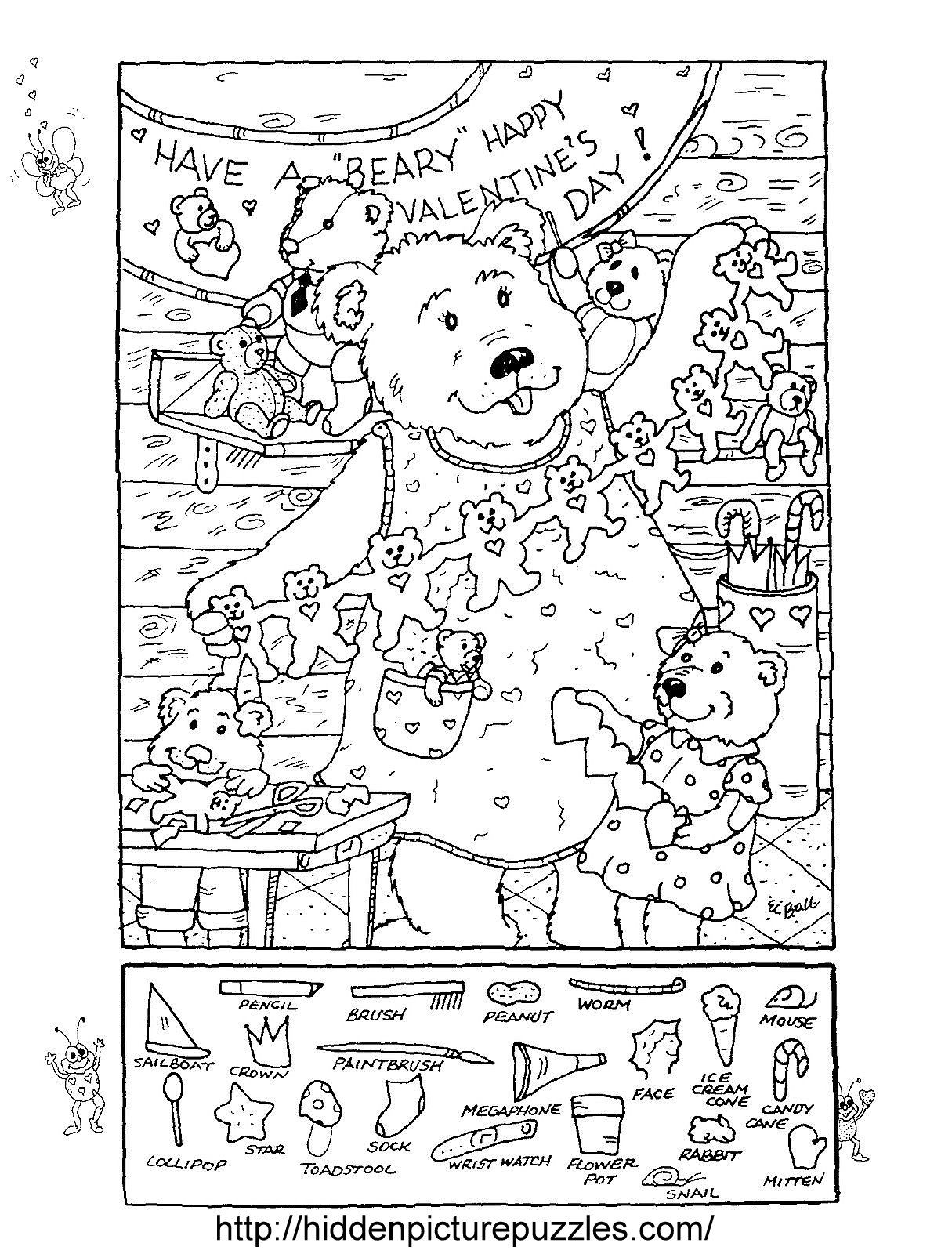 Hidden Picture Puzzle Coloring Page For Valentine S Day Resimler Gorsel Sanatlar