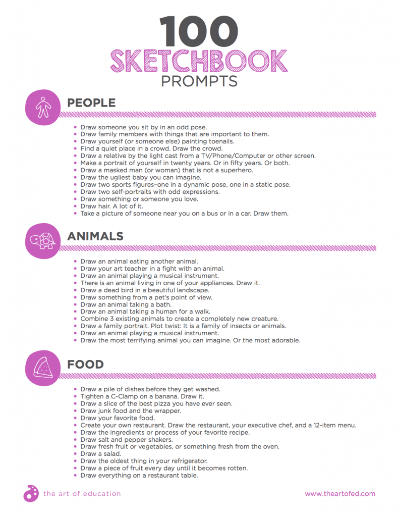 100 Sketchbook Prompts Your Students Will Love #drawingprompts