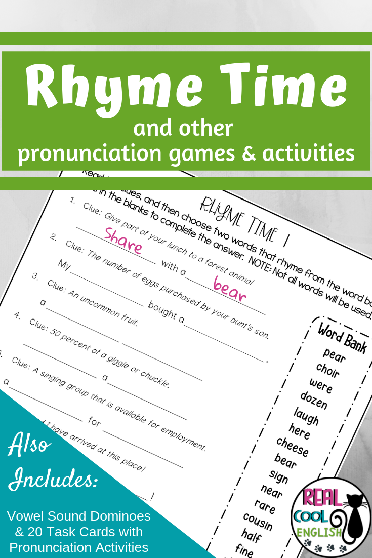 Rhyming Riddles And Pronunciation Activities Bundle Rhyming Activities Rhyming Words Teacher Help [ 1102 x 735 Pixel ]