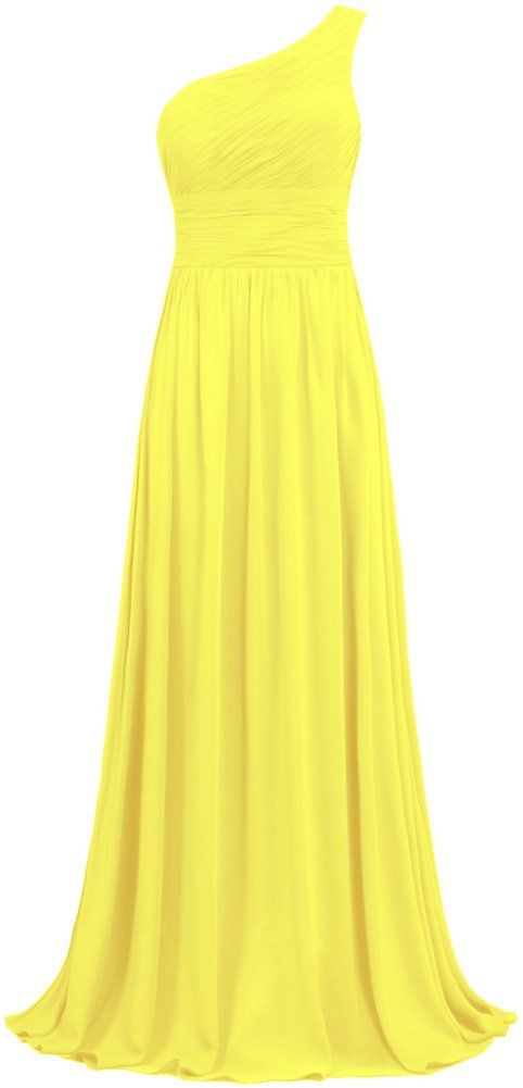 9197aa9cc34 ANTS Women s Pleat Chiffon One Shoulder Bridesmaid Dresses Long Evening Gown
