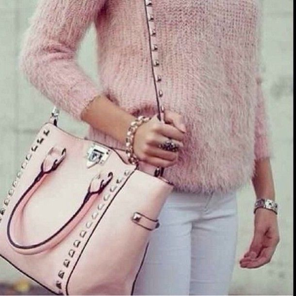 sweater bag black purse baby pink studded bag valentino women ...