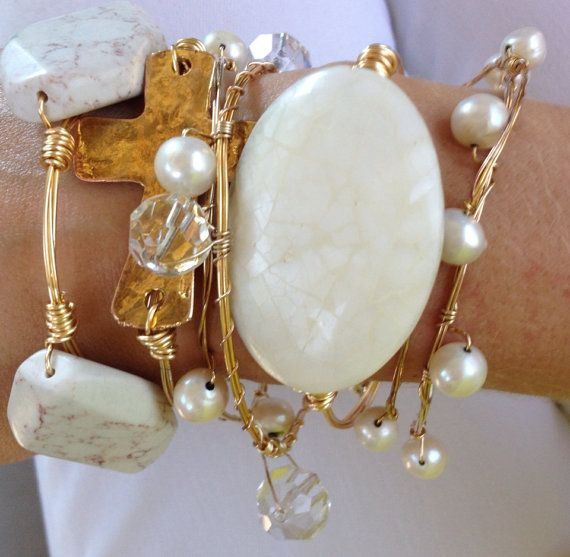 """The """"Pearl"""" Collection Bracelets: SET OF 6 on Etsy, $57.00"""