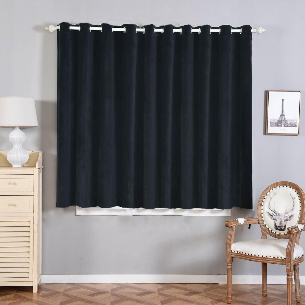 Black Soundproof Curtains 2 Packs 52 X 64 Inch Drop Curtains Room Darkening Curtains With Grommets In 2020 Grommet Window Treatments Curtains Insulated Curtains