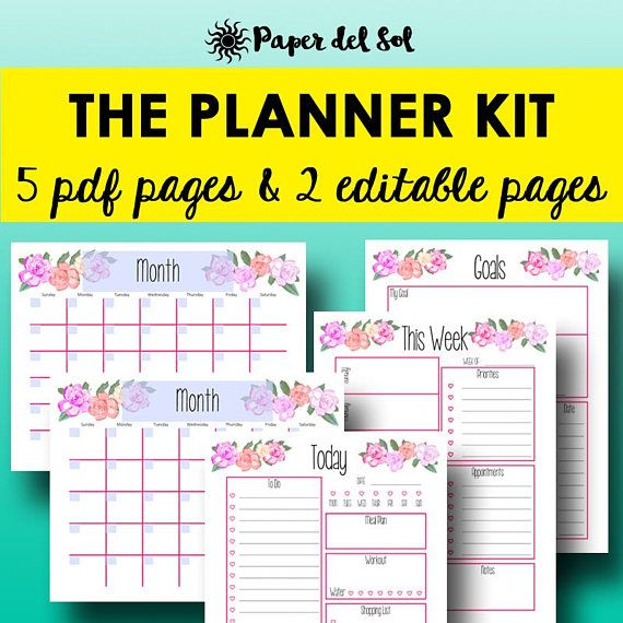 2018 Planner Printable, Daily Planner Pages, Weekly Planner 2018