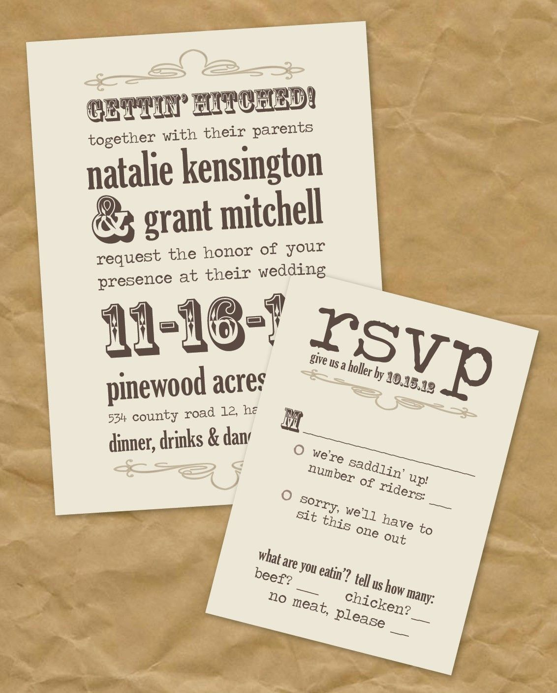 wedding invitations for a country wedding | Country Western Wedding ...