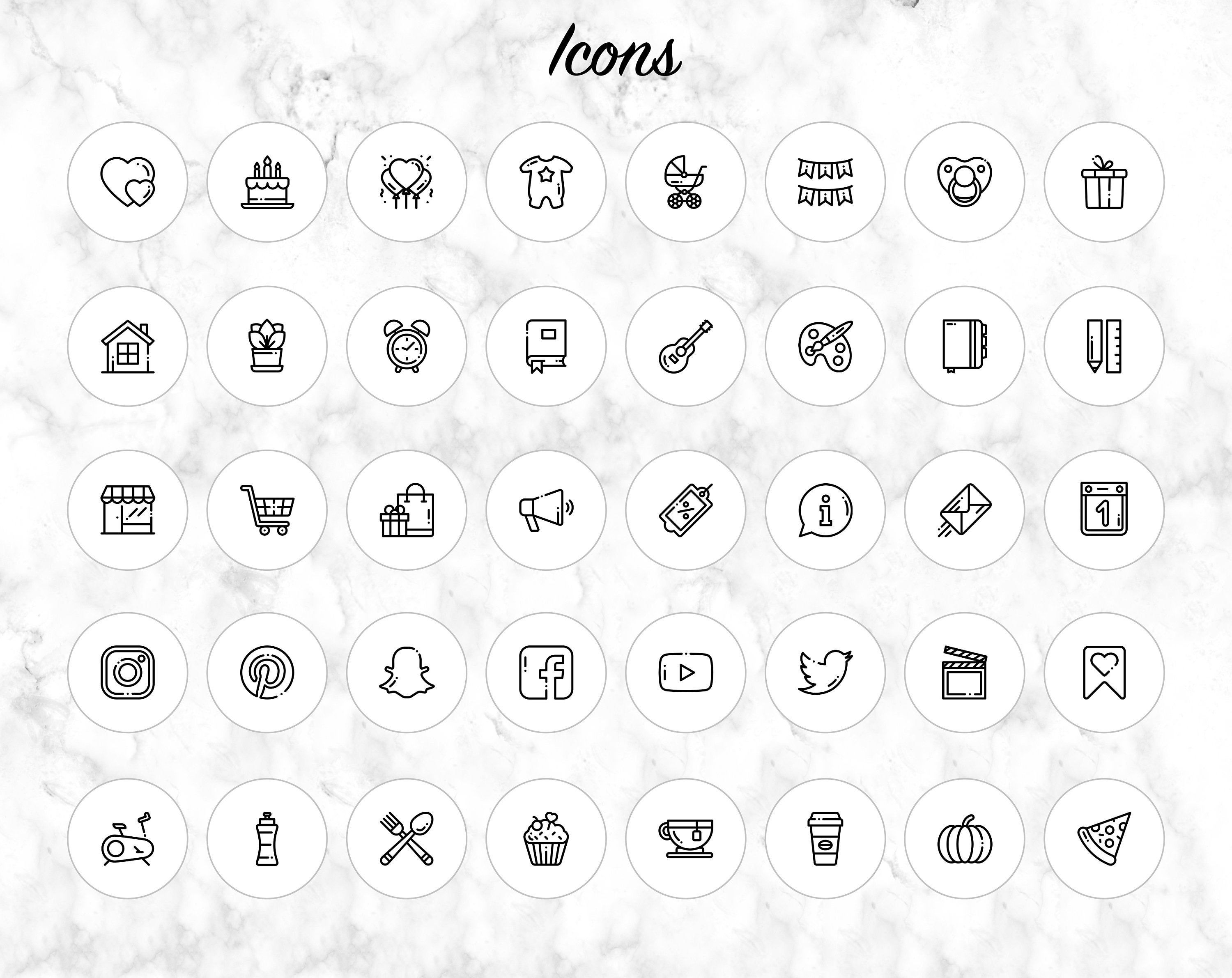 Bundle of 105 Instagram Story Highlights Icons Readyto