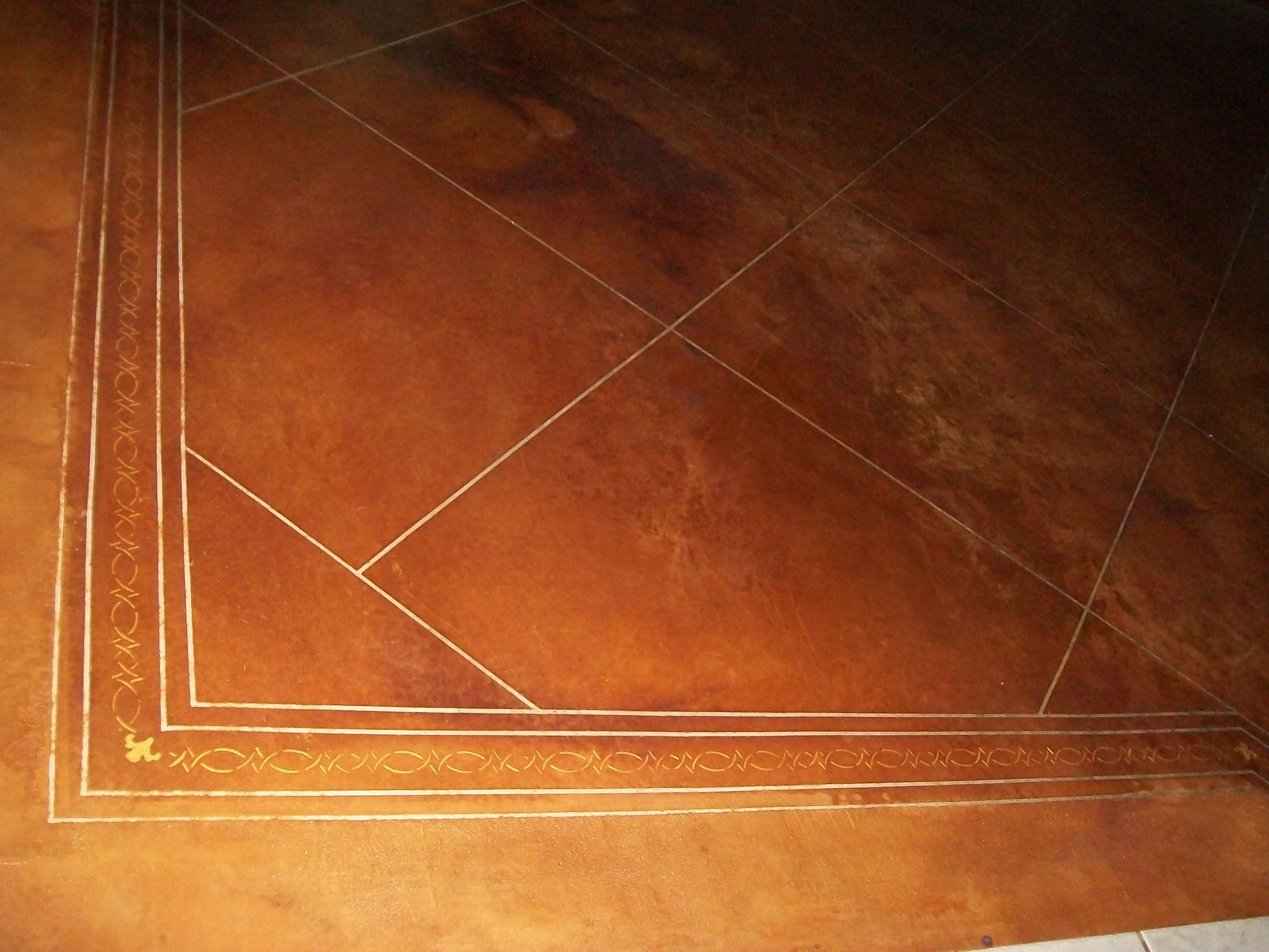 Diy Stained Concrete Floors Used Quilters Tape Instead Of Scoring For Grout Lines