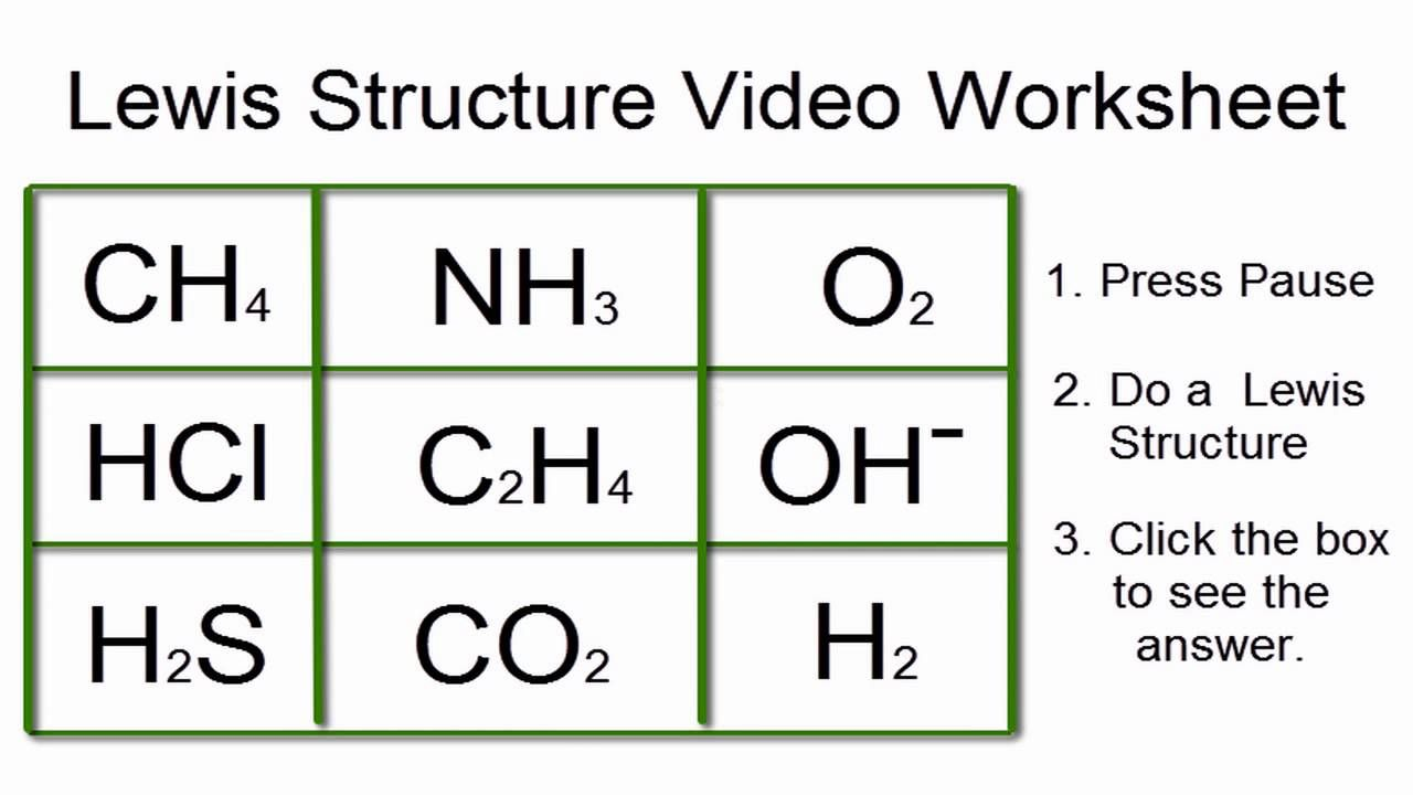 Lewis Structures Worksheet (Video Worksheet) with Answers ...