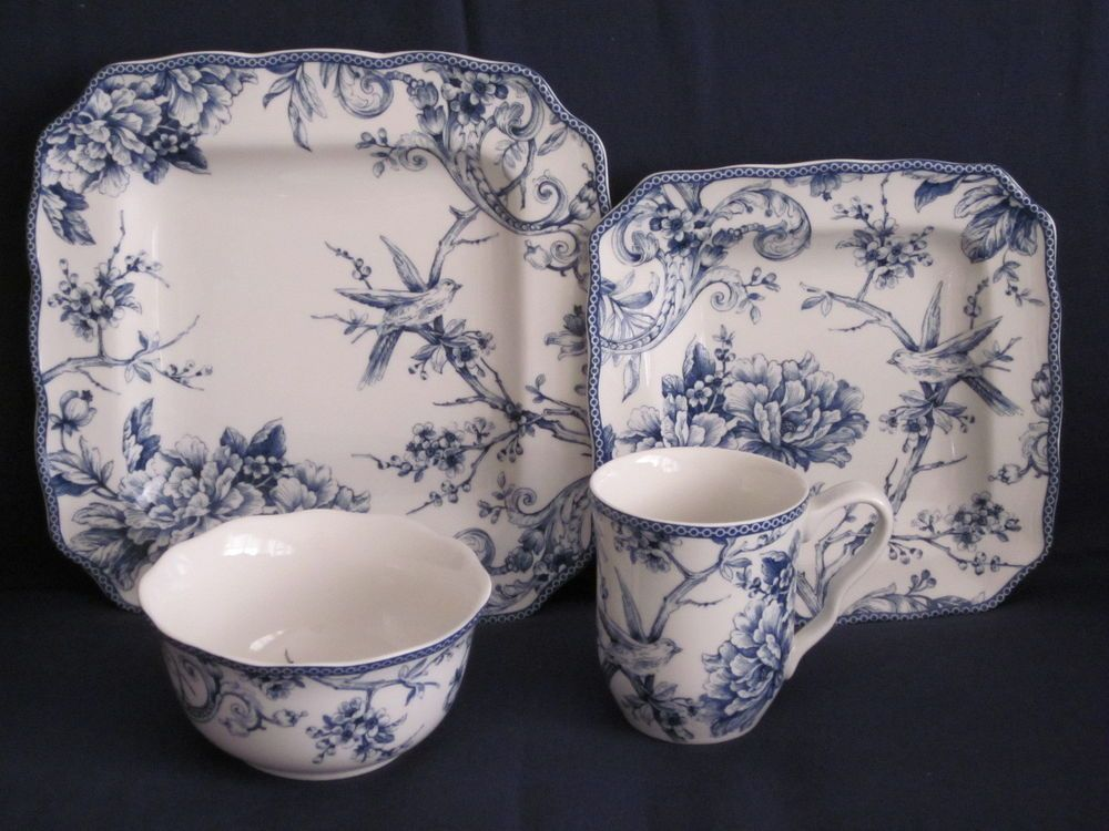 222 fifth \ adelaide blue white\  french toile bird dinnerware set 16 pc service 4 & 222 fifth \