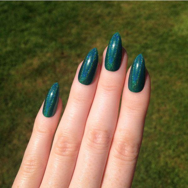 Ultra Holographic Green Teal Stiletto Nails Nail Designs Nail Art