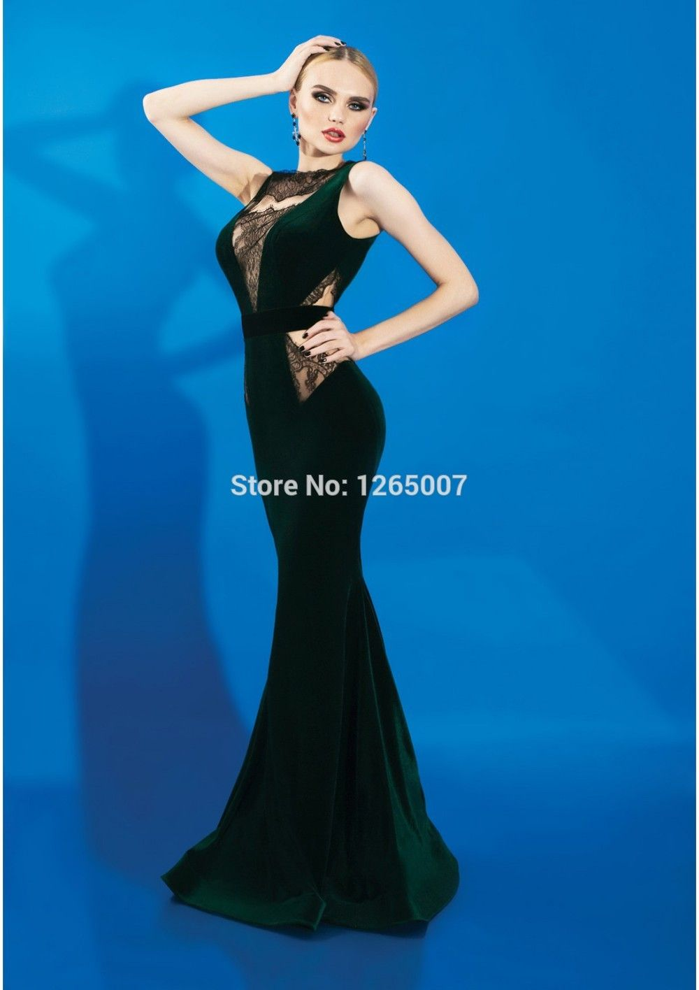 New Arrival O Neck Appliques See Through Black Lace Mermaid Green Velvet Evening  Dresses Sexy Long Women Formal Gown-in Evening Dresses from Weddings ... 01f4565dcefb