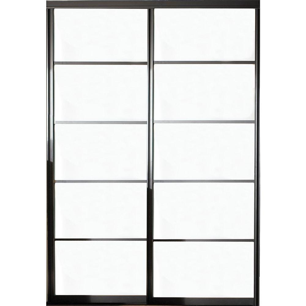 Contractors Wardrobe 72 In X 81 In Silhouette 5 Lite Aluminum Bronze Finish Interior Bypass Sliding Sliding Doors Interior Contractors Wardrobe Sliding Doors