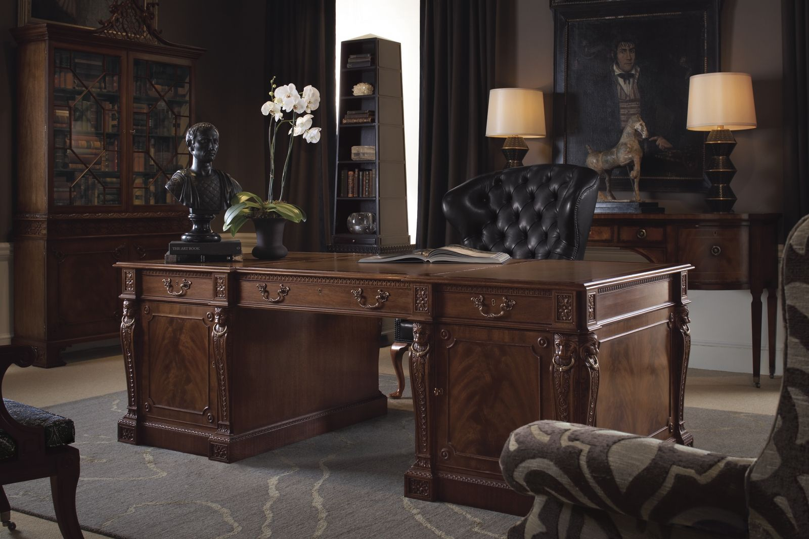 A Traditional Masculine Office From The Stately Homes Collection By Baker Furniture Home Office Design Traditional Office Decor Home Office Decor