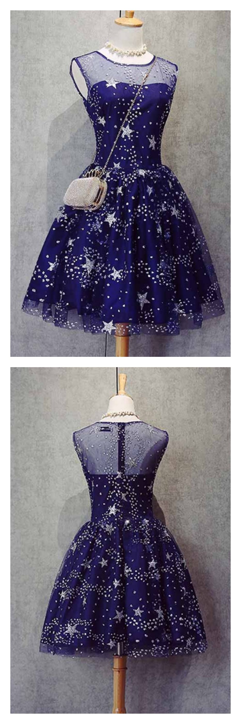 A line knee length beading royal blue homecoming dresses party