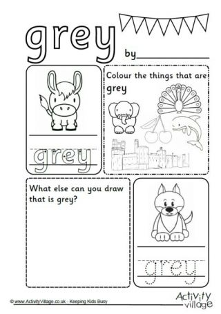 Grey Colour Worksheet | Work Crafts | Preschool coloring ...