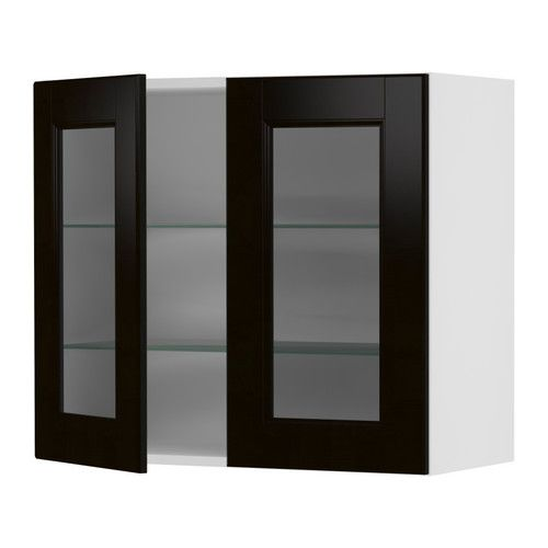 AKURUM Wall cabinet with 2 glass doors - white, Ramsj black-brown,