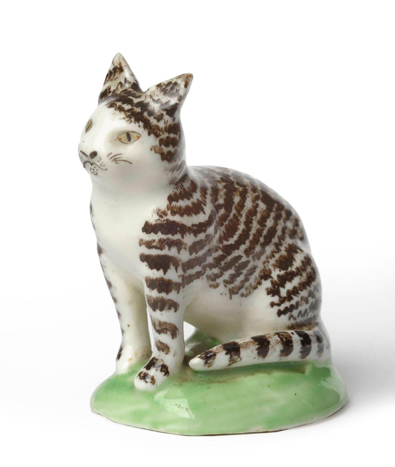 Lowestoft porcelain cat, c 1780, seated with black stripe