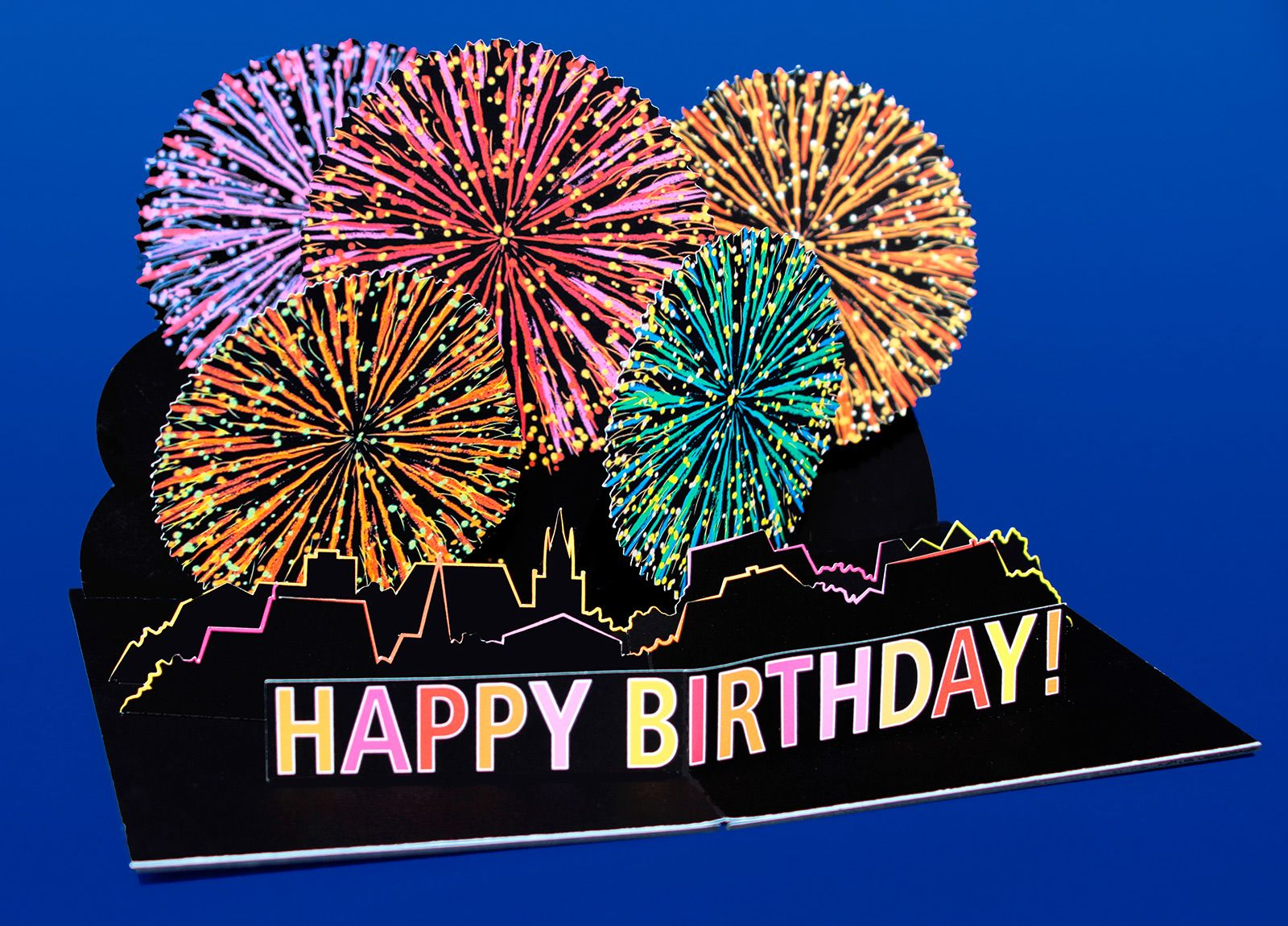 PopUp Card Fireworks Happy Birthday cards – Happy Birthday Pop Up Cards