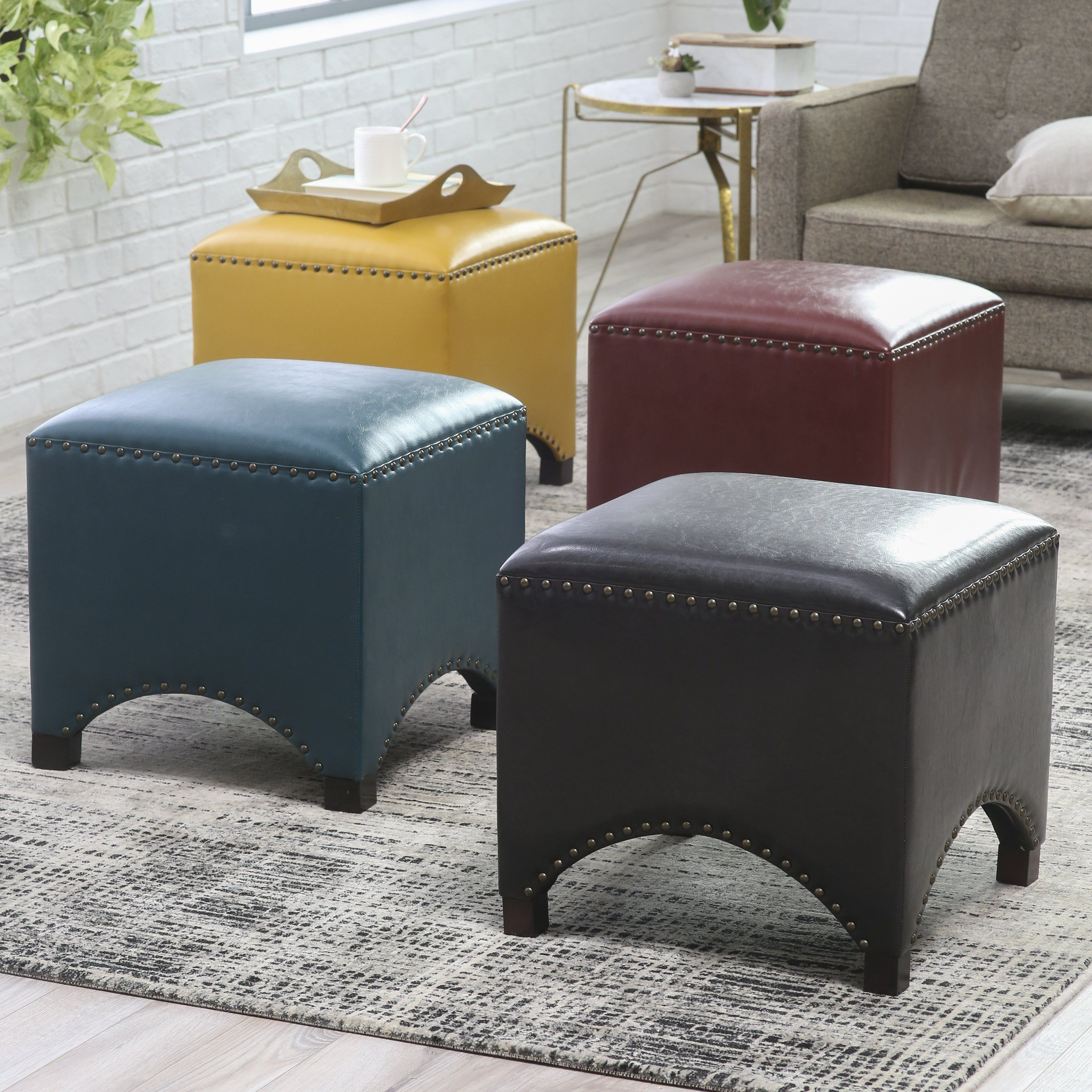 Belham Living Hutton Arched Cube Nailhead Ottoman - Kick up your ...